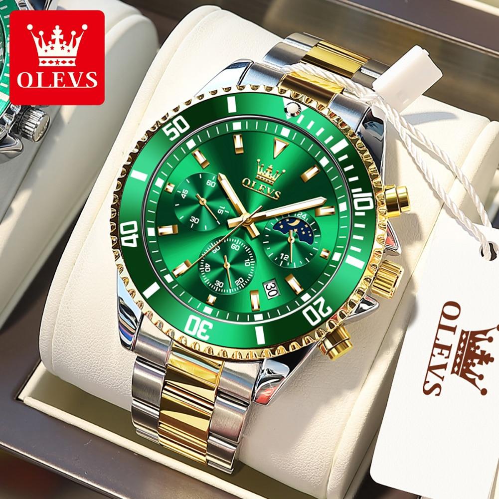 OLEVS Luxury Brand Men's Watches Waterproof Calendar Chronograph Man Watch Stainless Steel Quartz Wr