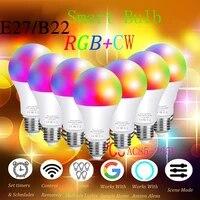 Ampoule intelligente LED Lampe E27 Wifi Ou Telecommande Vocale Siri Dimmable Alexa Google Assistant Maison RGBCW AC85V-265V IOS Android Tuya