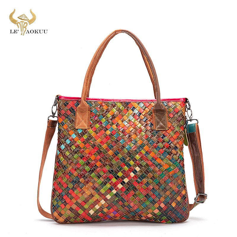 New Multi-Colorful Quality Leather Brand Luxury Ladies Patchwork Large Purse Handbag Shoulder bag Wo