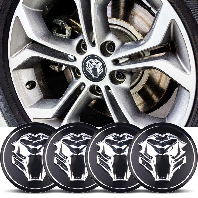 4x Car styling Tiger head Car Steering tire Wheel Center car sticker Hub Cap Emblem Badge Decals For Jaguar Audi BMW KAI Nissan