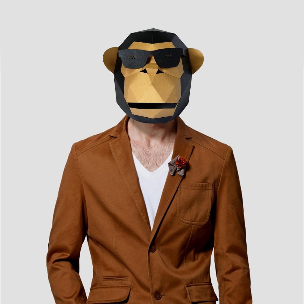 3D Paper Mask Fashion Sunglass Gorilla Animal Costume Cosplay DIY Paper Craft Model Mask Christmas H