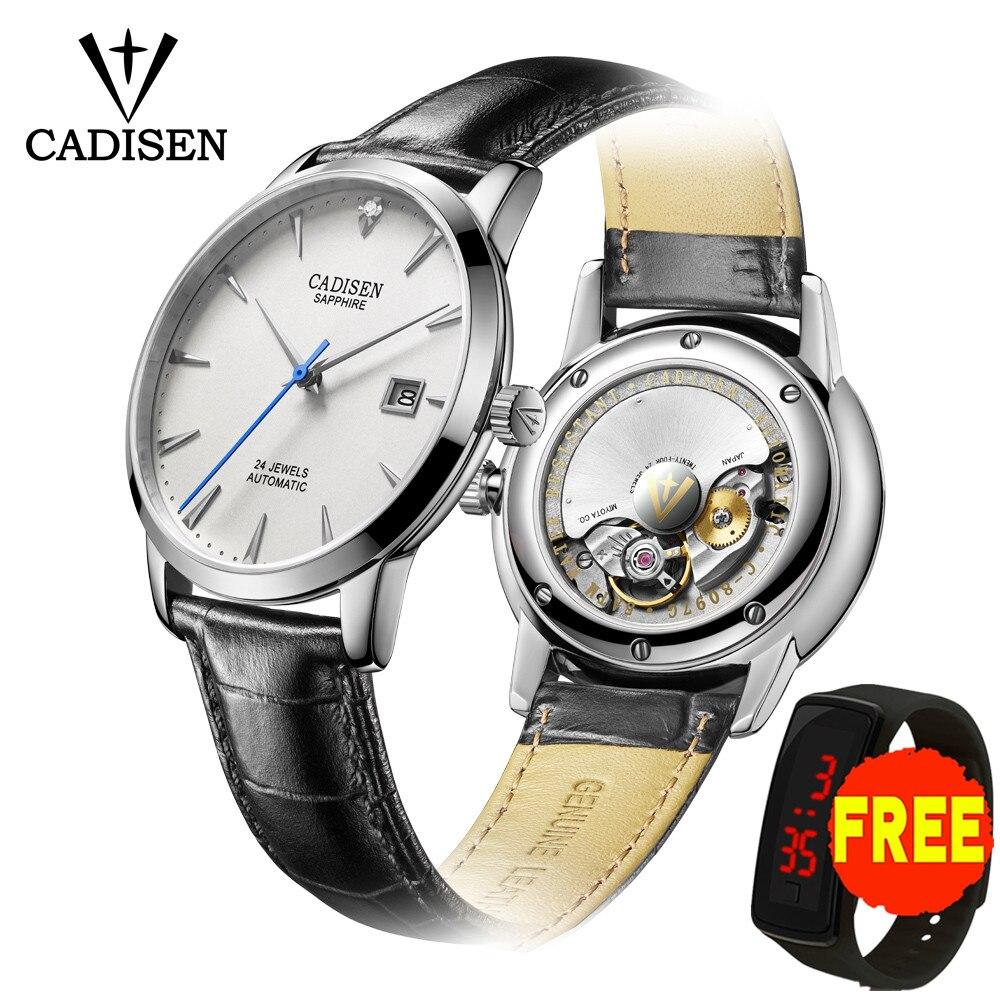 Relojes de hombre CADISEN, Reloj de pulsera mecánico automático MIYOTA 9015, marca superior de lujo, reloj de Diamante Real, reloj de cristal de zafiro Curvo