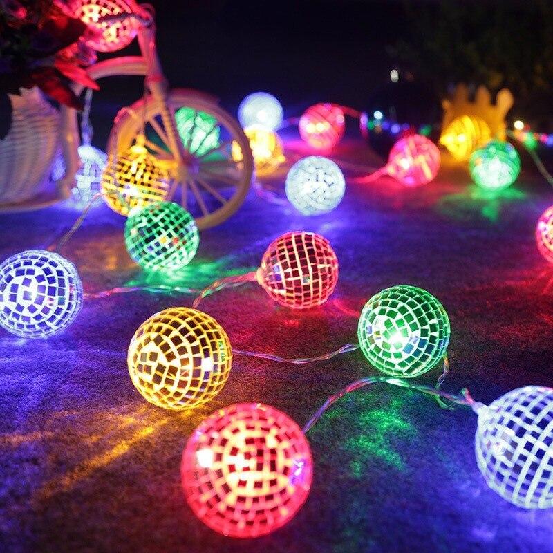 String Lights Mirror Ball Lights Disco Ball Lights USB Powered Style Outdoor Indoor Bedroom Windows Christmas Tree Decoration
