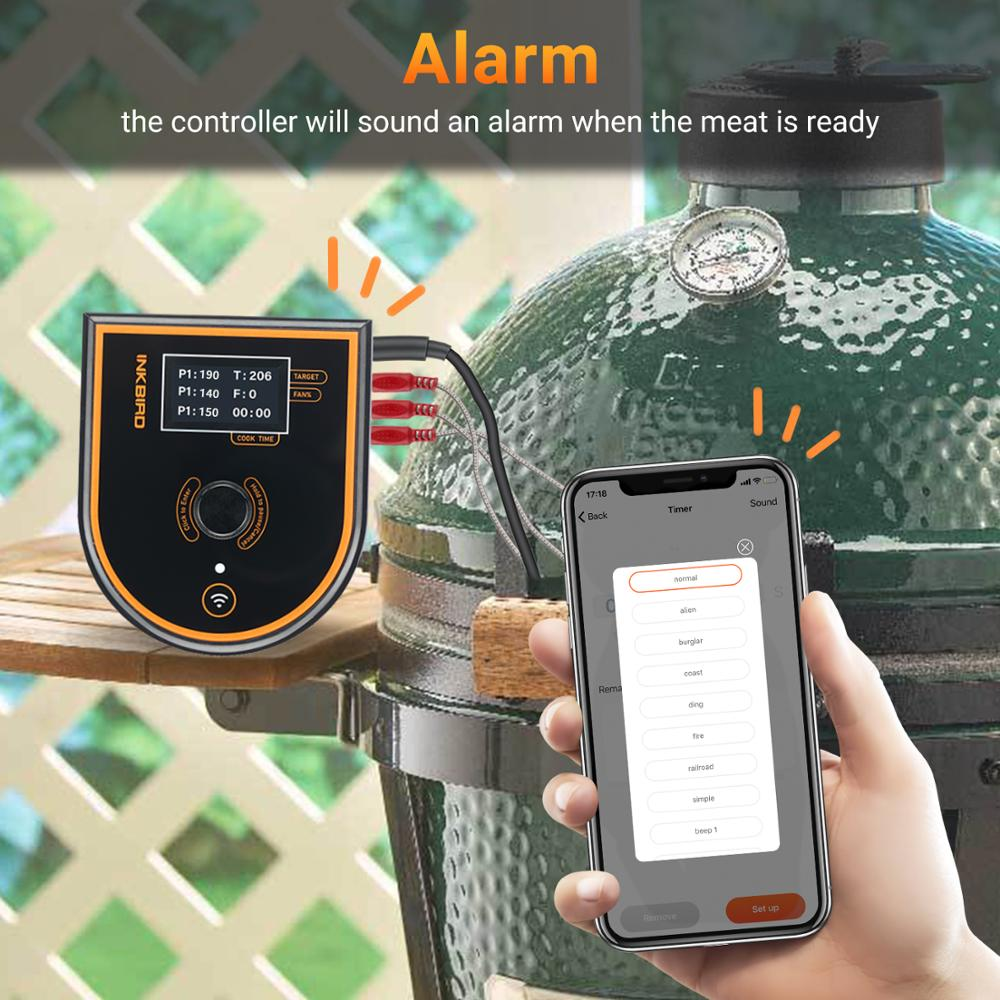 Inkbird ISC-007BW controlador de temperatura do forno para churrasco sem fio rápido readout preciso & suporte alarme ventilador velocidade variável para grande verde