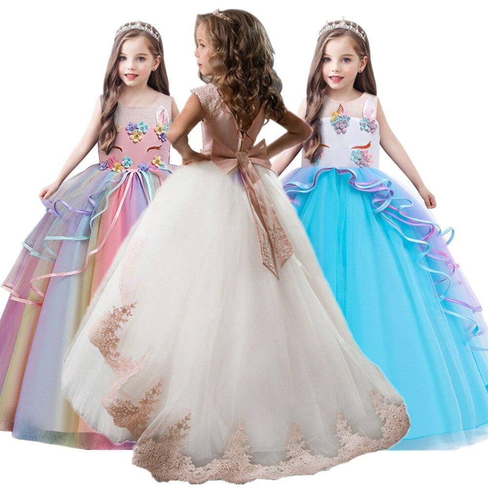 Chico chica elegante Bodas de pétalos de chica vestido de princesa fiesta desfile manga larga de encaje de tul para 3 4 5 6 7 8 9 10 11 12 años
