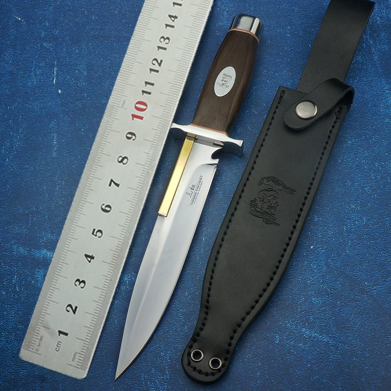 سكين مستقيم فولاذي 440C ، أداة صيد خارجية ، بقاء ، تخييم ، شفرة ثابتة ، سكاكين تكتيكية ، أدوات EDC ، مقبض خشبي