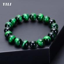 6-12mm Green Tiger Eye Bracelet for Men Women Natural Stone Healing Beads Bracelets Tiger Eye Beaded