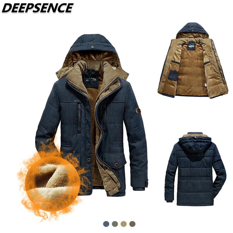 Men Winter Hooded Thick Fleece Parkas Jacket Hat Detachable Coat Men Outdoor Military Casual Pockets