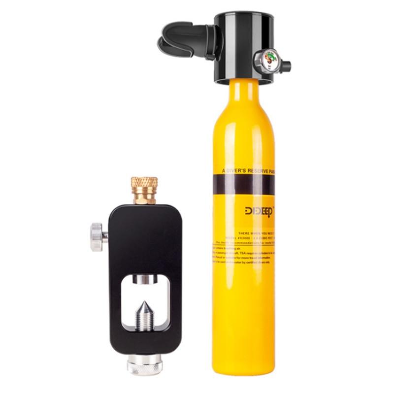 DIDEEP 3 unids/set equipo de buceo Mini submarinismo oxígeno respiración tanque de aire bomba de mano cilindro de oxígeno tanque bolso de adaptador