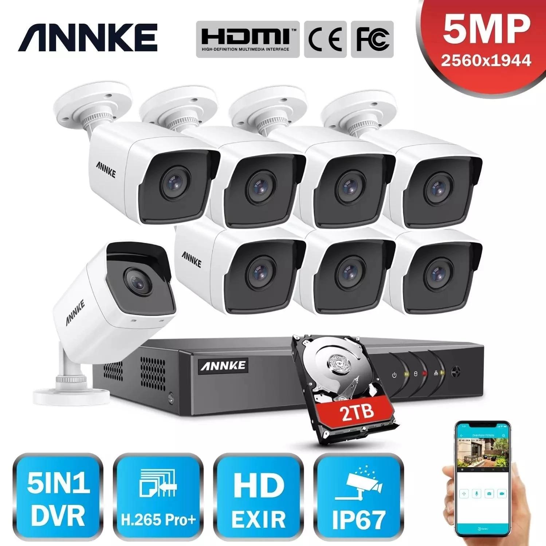 ANNK-نظام أمان خارجي ، مجموعة مراقبة بالفيديو h265 5MP Lite Ultra HD 8CH DVR CCTV ، كاميرا للرؤية الليلية EXIR 5MP