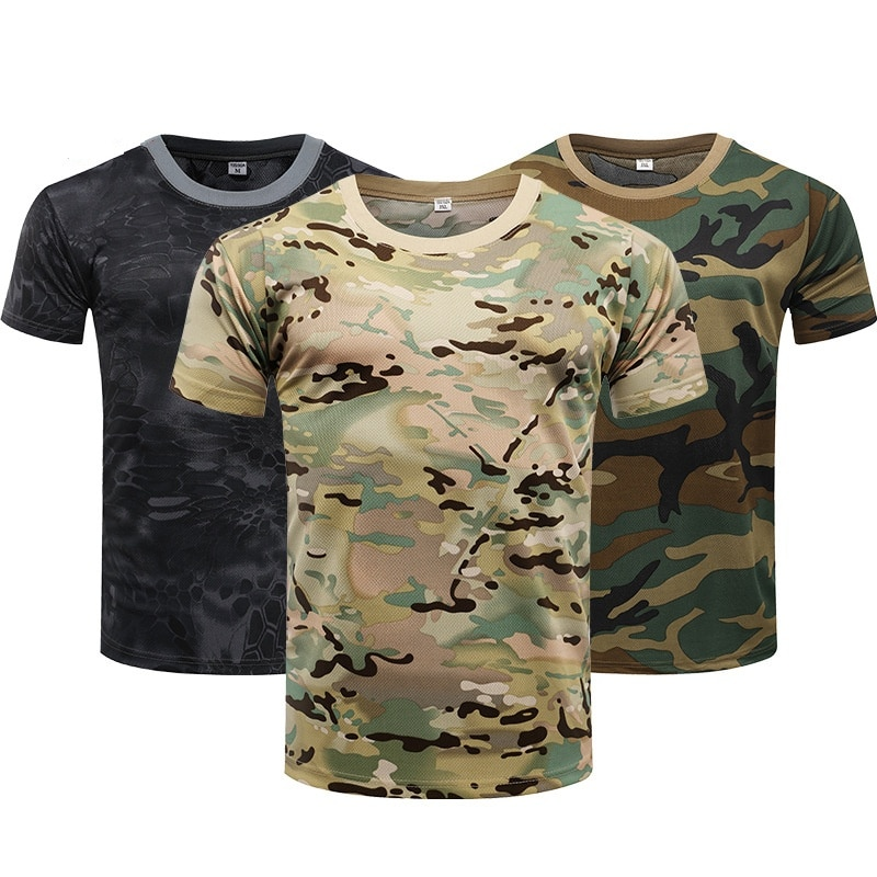 Camouflage Tactical Shirt Short Sleeve Men's Quick Dry Combat T-Shirt Military Army T Shirt Camo Out