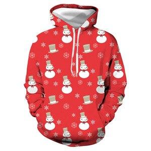 Unisex Christmas Snowman Red 3D Digital Print Loose Hooded Sweater Pullover Women Men Xmas New Year Baseball Sweatshirt Hoodie