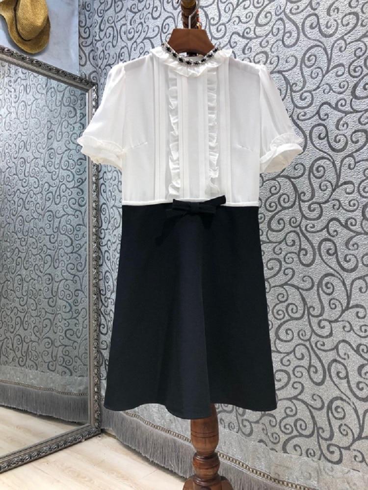 AliExpress - Elegant Work Dress 2021 Summer Business Inspired Women Crystal Beading Floral Deco Short Sleeve A-Line Color Block Dress Mini