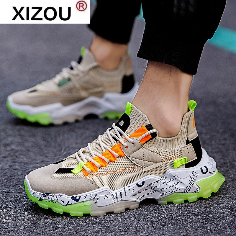 Lace-up Men Casual Sneaker Shoes Hip Pop Sneakers Male Comfortable Sport Trainers Mesh Tennis Shoes Chaussure Homme Zapatillas