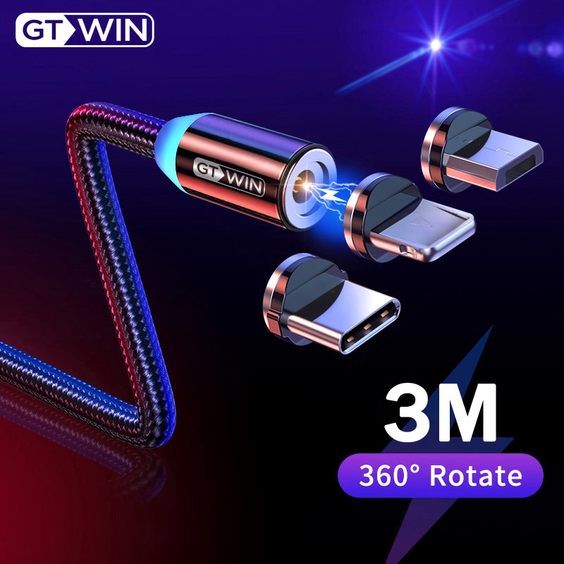 GTWIN Magnetic USB Cable For iPhone XS Max Fast Charging Micro USB Cable Magnet Charger Cord Type C For Samsung S10 Xiaomi Wire