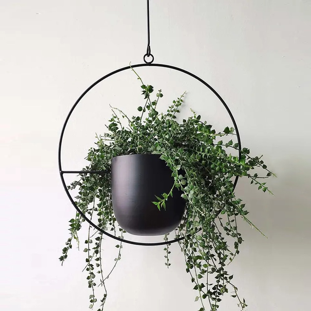 Colgador de plantas de Metal, cesta colgante de cadena, soporte para maceta de flores, jardín y balcón, envío directo