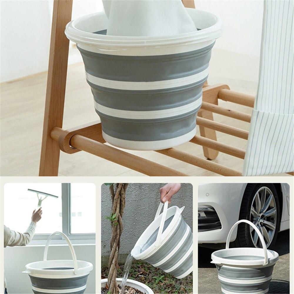 10L cubo portátil plegable con anillo reforzado para el lavado de coches al aire libre cebo de pesca Camping Limpieza de cocina y baño accesorios