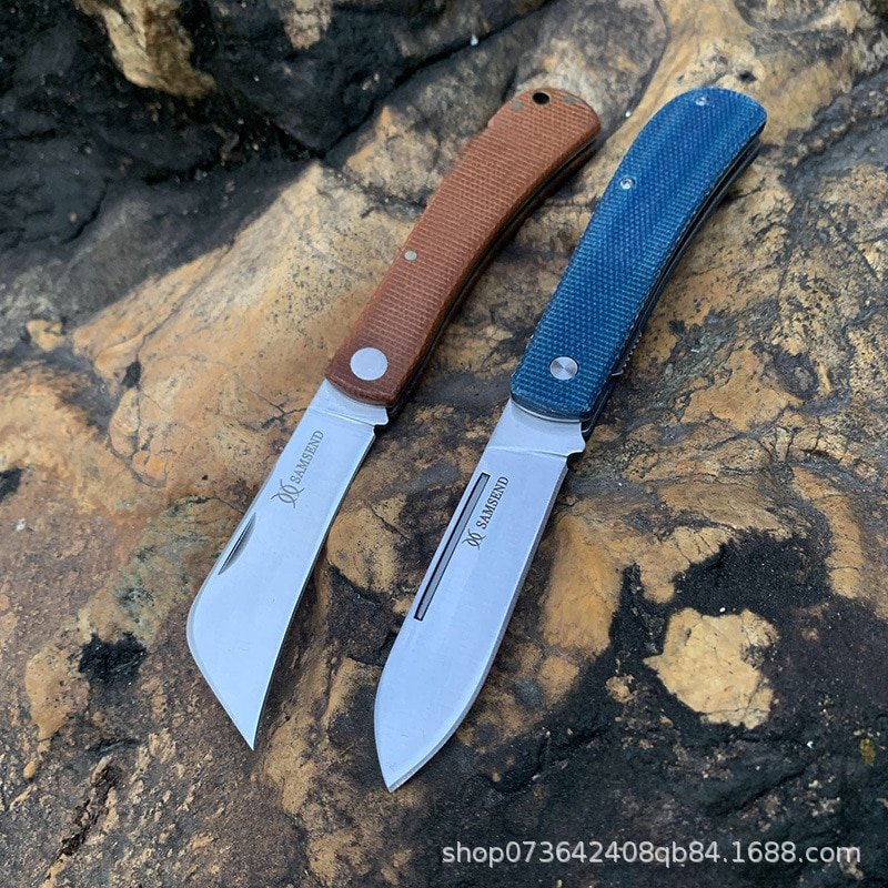 Folding knife 440C Steel Outdoor EDC Hunting Tactical tools linen fiber Dark green handle Carry a knife with you Pocket knive