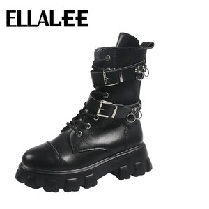Chunky Motorcycle Boots Women Metal Buckle Lace-up Round Toe Low Heel Rubber Outsole Boots Boot PU Winter Cool Punk Boots