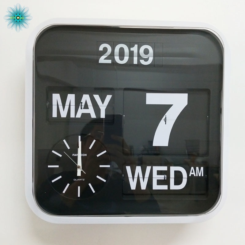 Super Large Auto Calendar Flip Clock Vintage Extra Large Luxury Wall Clock Retro Flip Clocks Wall Watches Home Decor 43cm