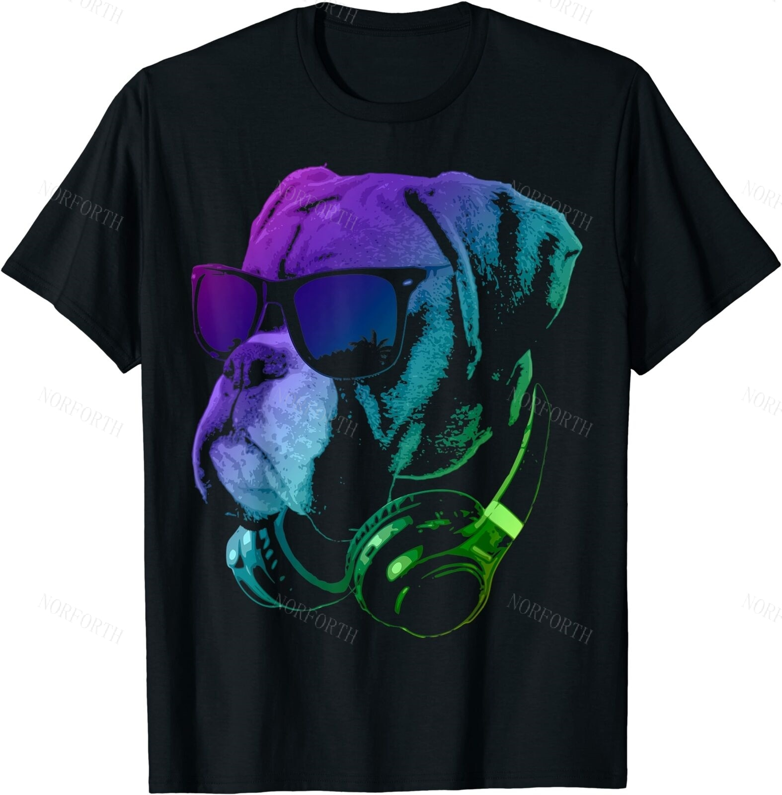 Boxer Dog With Sunglasses And Headphones Funny T-Shirt