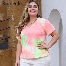 Plus Size Tops Tie Dye Women Summer Short Sleeve Halter V Neck Casual Loose T Shirt Star Decoration Clothes Tee Shirt Femme 2020