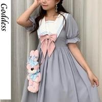 2021 women summer japanese lolita dress college style sweet cute kawaii puff sleeve a line casual bowknot princess vestidos