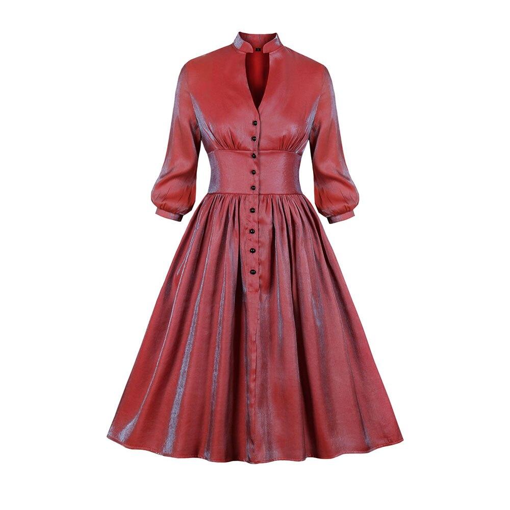 Sisjuly otoño nuevo elegante perlado profundo cuello en V Swing femenino Retro vestidos rojo gótico A-line vestidos Vintage vestidos de fiesta
