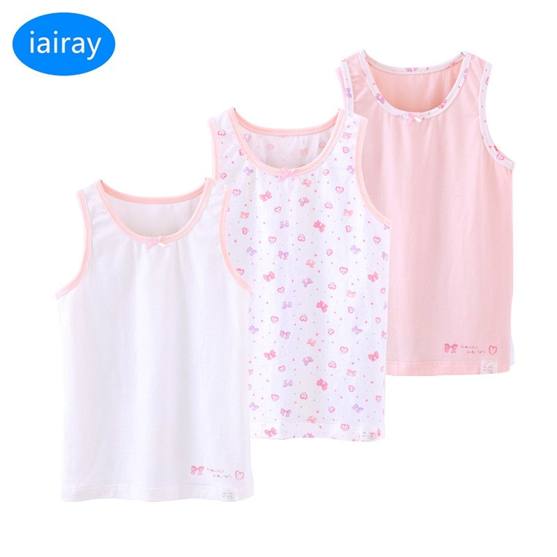 Iairay 3 unids/set niñas verano casual casa chaleco Rosa top de tirantes de algodón top para niñas camiseta sin mangas de los niños camisetas de manga larga Camiseta