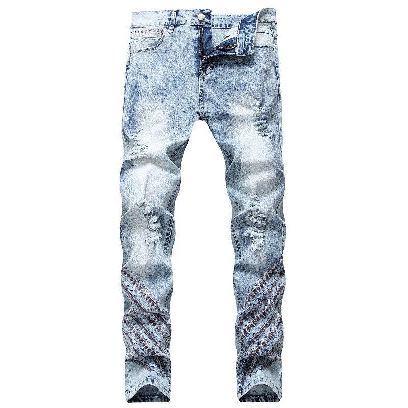 Мужские винтажные джинсы с вышивкой и дырками, прямые Стрейчевые джинсы, облегающие прямые состаренные джинсы, брюки, зимние брюки фото