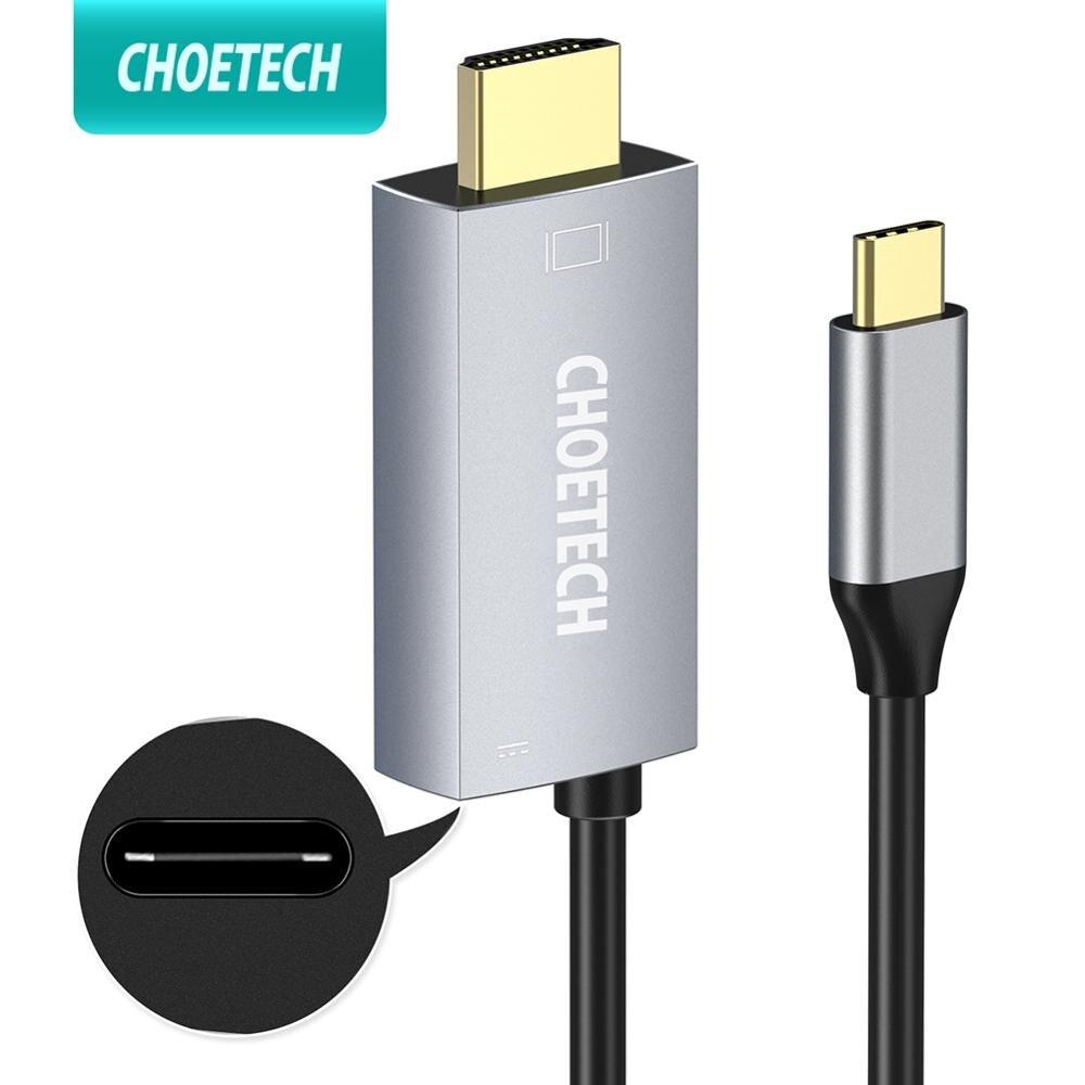 CHOETECH USB 3,1 Type-C к HDMI кабель адаптер Thunderbolt 3 совместим с 60W PD зарядным портом для Macbook Galaxy S9 Note 8