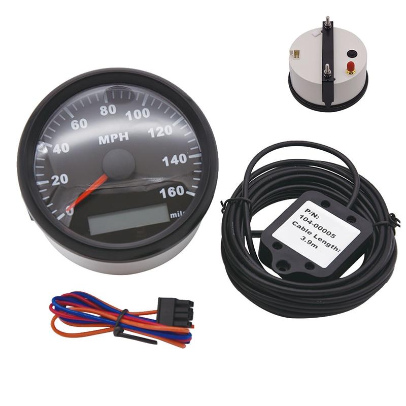 Velocímetro GPS de 85mm calibre 0-160 MPH odómetro para coche camión motocicleta Tractor marino ATV con luz trasera roja 12V 24V impermeable