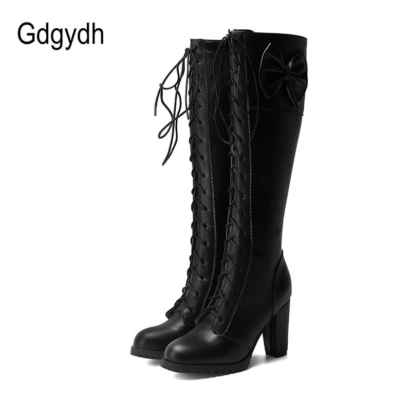 Gdgydh-أحذية نسائية بكعب سميك للدراجات النارية ، أحذية نسائية بطول الركبة ، زفاف ، مقاس كبير 48 قوطي ، خريف وشتاء 2021