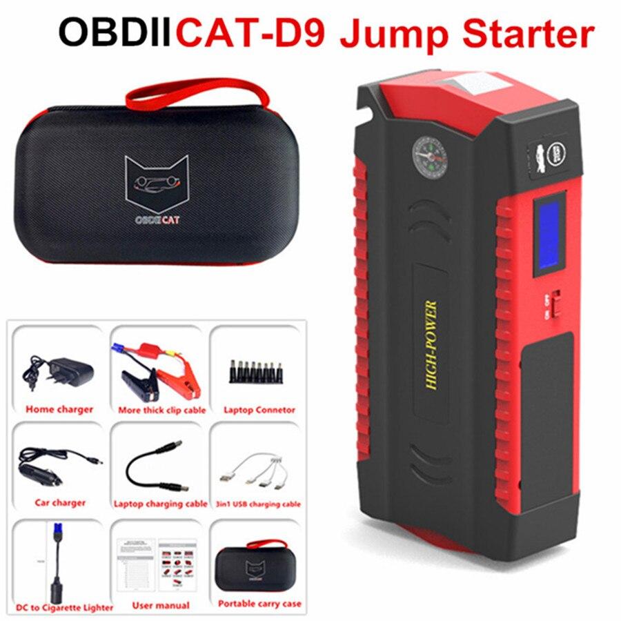OBDIICAT-D9 arrancador de batería de coche 12V 12V coche arranque con Kit de cargador de energía del automóvil Banco Pantalla LED móvil de emergencia