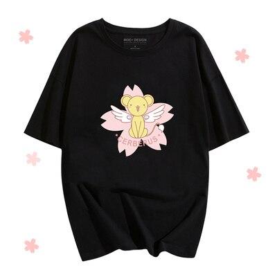 Sakura Cardcaptor, cosplay, camisetas periféricas temáticas de Anime, Camiseta holgada de verano de ocio, Camiseta con estampado de CERBERUS de cuatro estilos