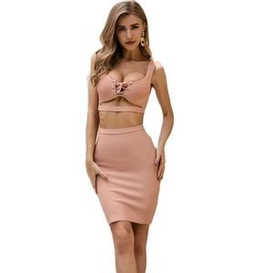 Hot Seller Pink Two Set Sexy Bandage Dress For Women Elegant Beach Party