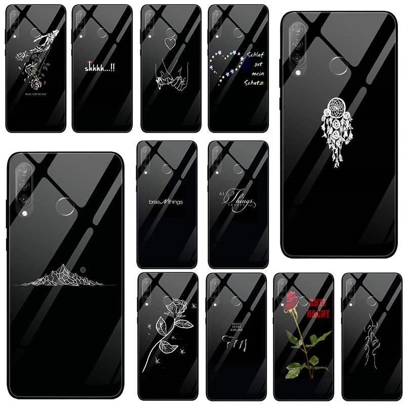 Чехлы для Huawei Mate 20 Y6 Y9 Honor 6X 8 8A 9 10 P20 P30 Plus Lite Pro 2018 2019 чехол из закаленного стекла с изображением Минни черная художественная надпись
