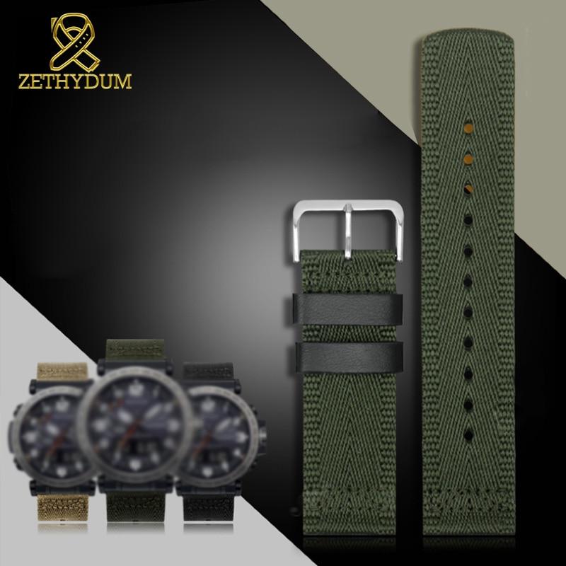 Superior Correa de nylon 24mm para casio GA2000 PRG-600YB-3 prg-650 PRW-6600 impermeable de la correa de reloj pulsera banda