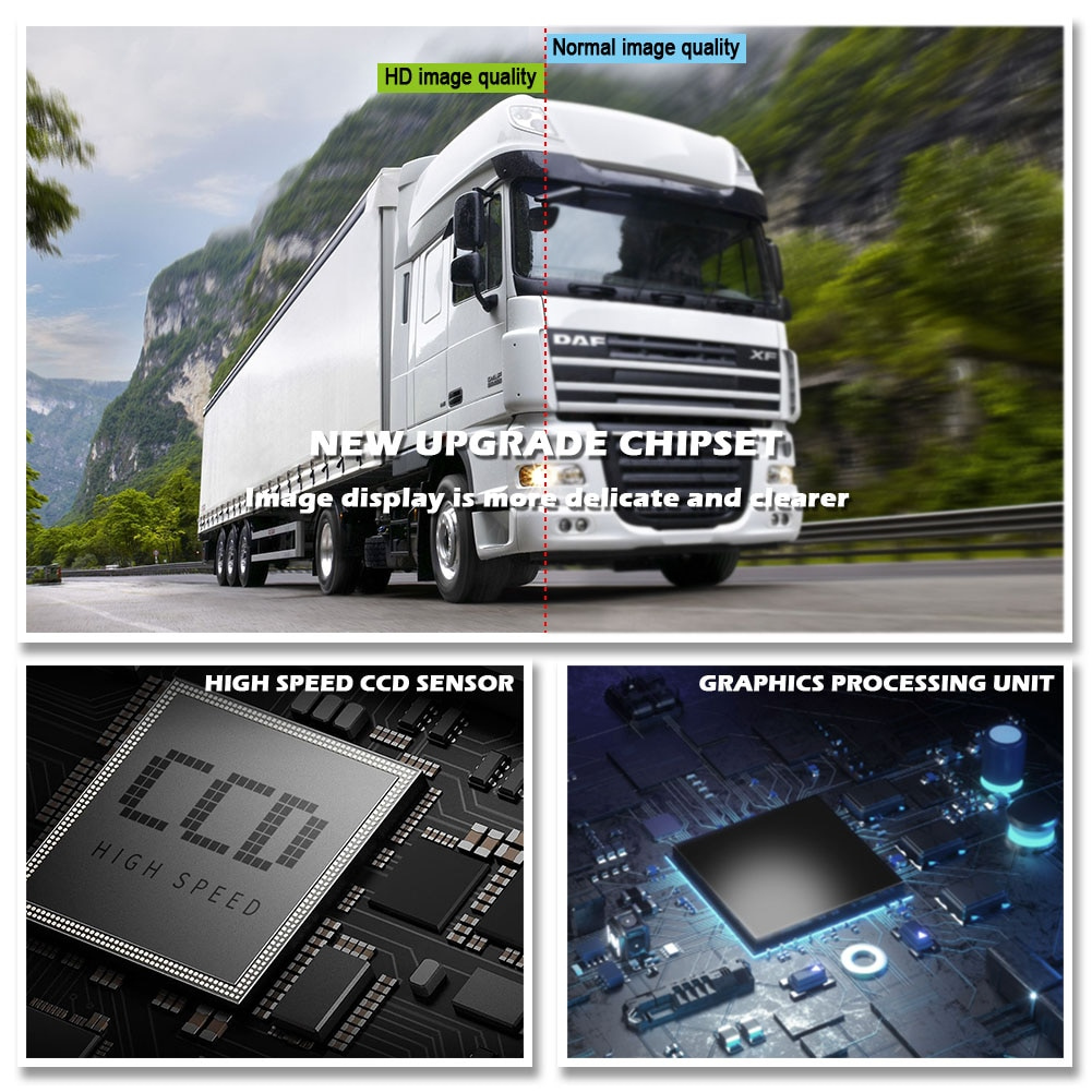 7 Inch  Car Monitor Wireless Truck Backup Rear View Display and Wifi Reverse Backup Camera for Car RV Bus TV Display Screen
