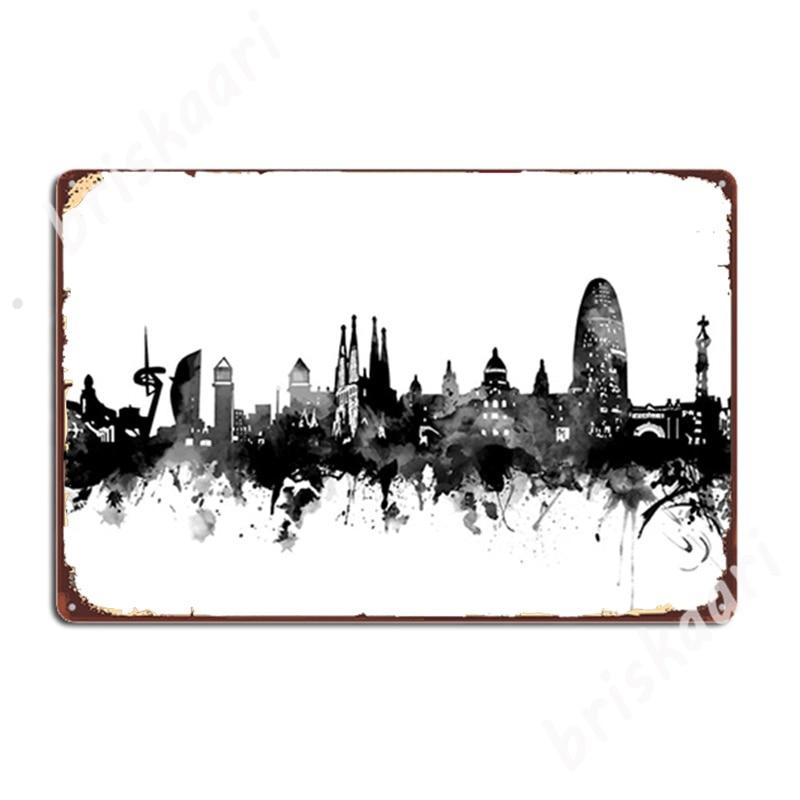Carteles de Metal del Skyline de Barcelona para Club, pub, garaje, Mural...