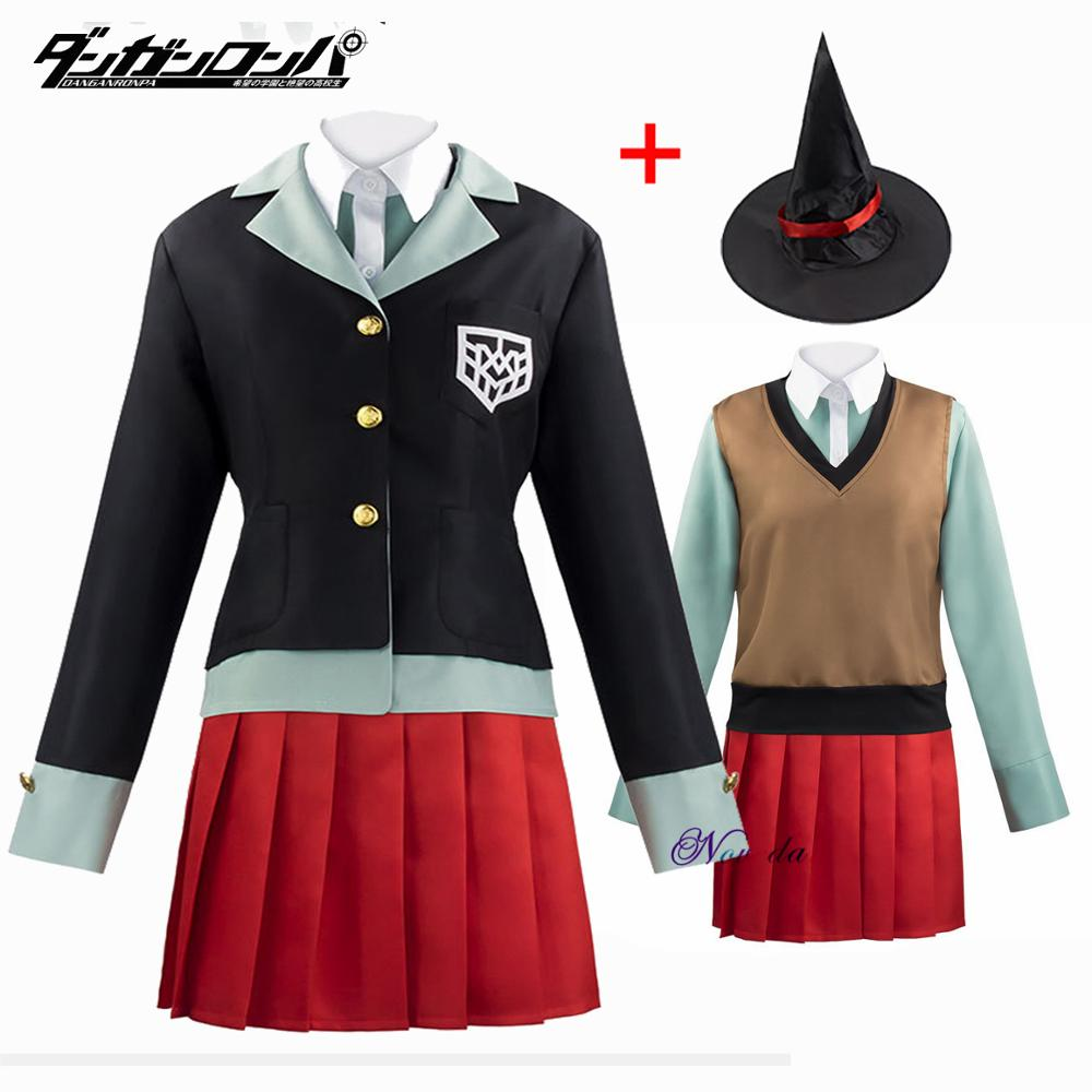 Danganronpa v3 himiko yumeno cosplay traje da menina da escola uniforme feminino outfit festa de halloween saia terno jaqueta + camisa + chapéu mágico