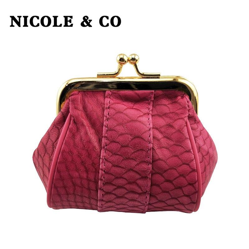 NICOLE & CO  2019New Genuine Sheepskin Leather Coin Purse Women Small Coin Wallet Hasp Female Fashion Mini Change Purse Bag Girl
