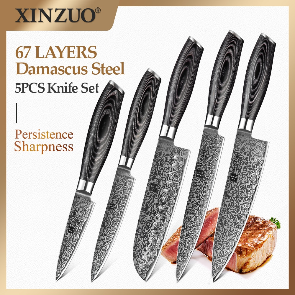 XINZUO 5 قطعة مجموعة سكاكين المطبخ اليابانية VG10 دمشق الصلب الشيف الساطور Santoku تقطيع سكّين متعدّد الاستخدامات أدوات الطبخ