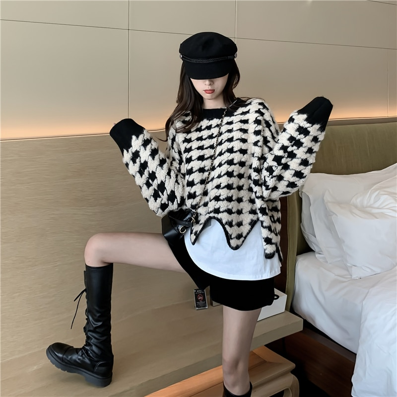 jxmyy-2020-new-product-autumn-and-winter-retro-irregular-hem-wavy-houndstooth-pattern-lazy-loose-pullover-thick-sweater-women