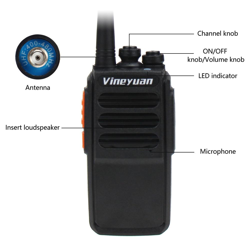 Портативная рация Vineyuan, 5 Вт, УВЧ, 400-470 МГц, 16 каналов, FM-передатчик