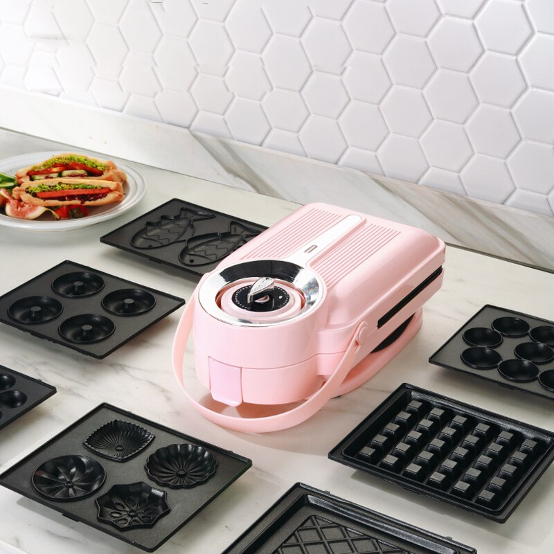 650w elétrica máquina de sanduíche cronometragem waffle maker torradeira baker máquina café da manhã takoyaki panqueca donuts sandwichera 220v