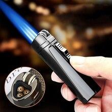 Portable Metal Three Flame Windproof Gas Lighter Small Spray Gun Cigar Butane Lighter High Temperatu