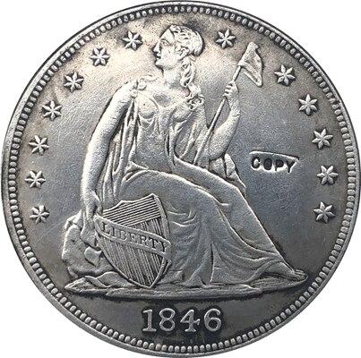 Copia de monedas de dólar de libertad sentado 1846-O