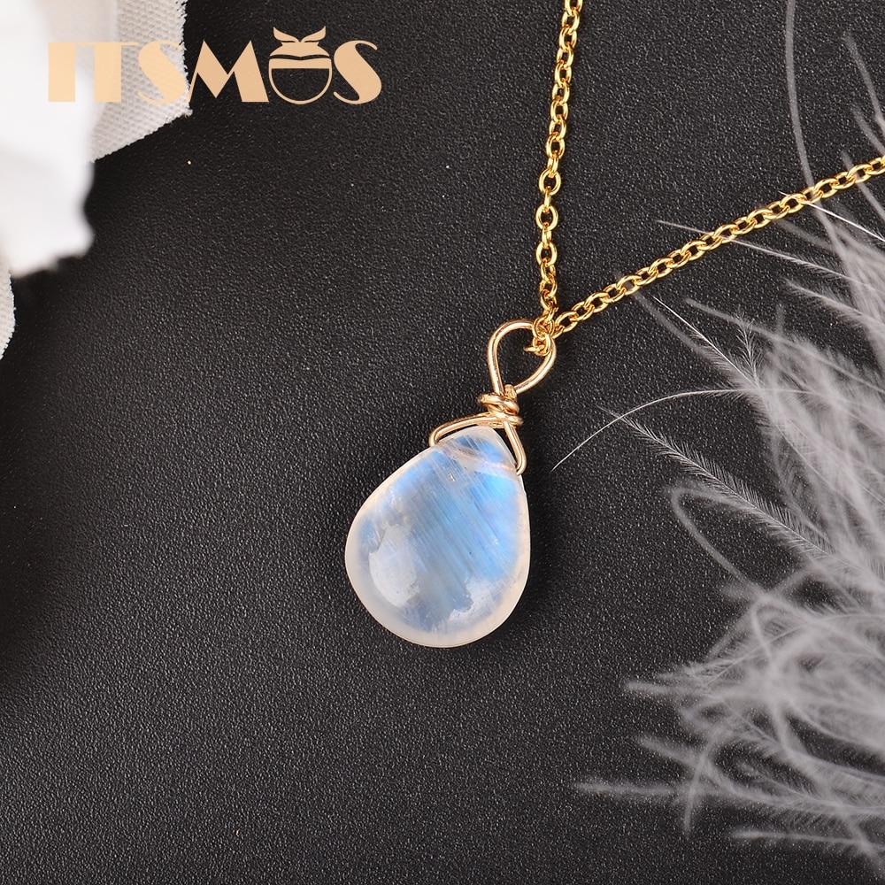 ITSMOS-قلادة بسلسلة من حجر القمر الطبيعي للنساء ، مجوهرات ذهبية عيار 14 قيراطًا ، مجوهرات بسيطة وأنيقة ، هدية روماتيكية