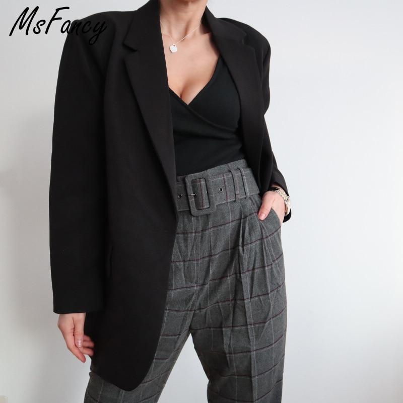Msfancy Spring Fashion Black Blazer Suits Women 2021 Plus Size Tailleur Femme Single Button Oversized Casual Jacket
